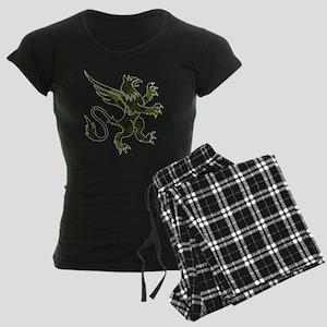 Green Argyle Gryphon Women's Dark Pajamas