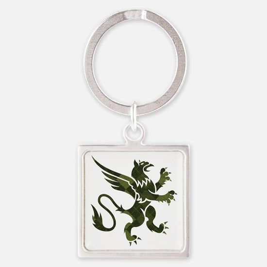 Green Argyle Gryphon Square Keychain