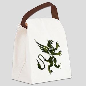 Green Argyle Gryphon Canvas Lunch Bag