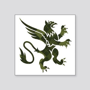 "Green Argyle Gryphon Square Sticker 3"" x 3"""
