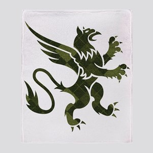 Green Argyle Gryphon Throw Blanket