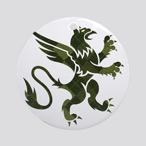 Green Argyle Gryphon Round Ornament