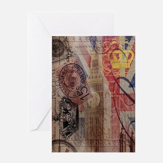 vintage British Flag London UK fashi Greeting Card