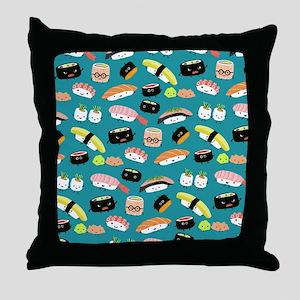 sushishowercurtain Throw Pillow
