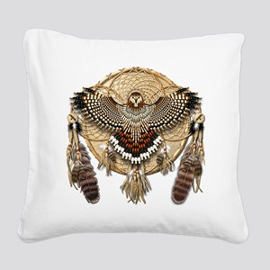 Red-Tailed Hawk Dreamcatcher  Square Canvas Pillow