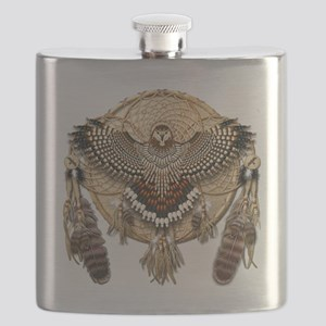 Red-Tailed Hawk Dreamcatcher Mandala Flask