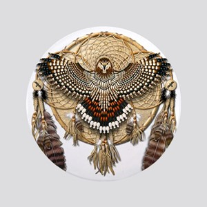 "Red-Tailed Hawk Dreamcatcher Mandala 3.5"" Button"