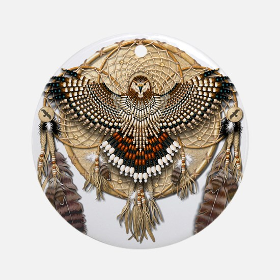 Red-Tailed Hawk Dreamcatcher Mandal Round Ornament