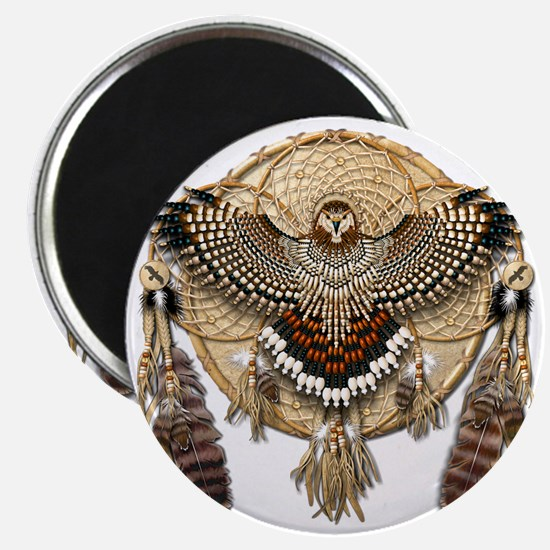 Red-Tailed Hawk Dreamcatcher Mandala Magnet