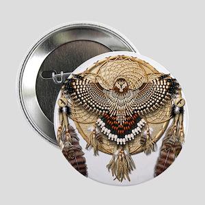 "Red-Tailed Hawk Dreamcatcher Mandala 2.25"" Button"