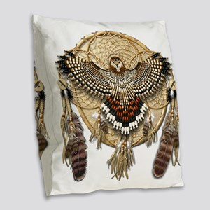 Red-Tailed Hawk Dreamcatcher M Burlap Throw Pillow