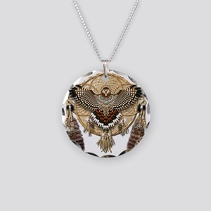 Red-Tailed Hawk Dreamcatcher Necklace Circle Charm