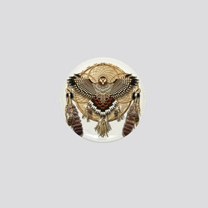 Red-Tailed Hawk Dreamcatcher Mandala Mini Button