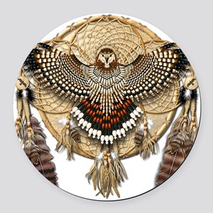 Red-Tailed Hawk Dreamcatcher Mand Round Car Magnet