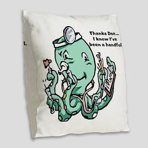 dr Octopus Burlap Throw Pillow