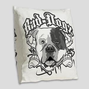 American Bull Dog Burlap Throw Pillow
