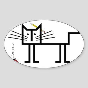 Coffee Cat Sticker (Oval)