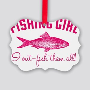 fishing girl Picture Ornament