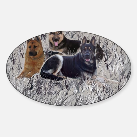 german shepherd pillowcase Sticker (Oval)