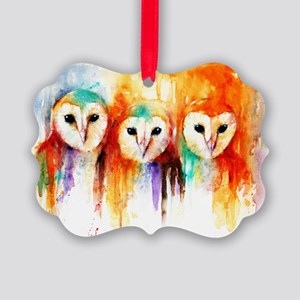 Row of Owls Picture Ornament