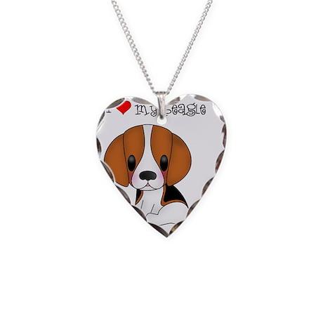 I Love My Beagle Necklace Heart Charm