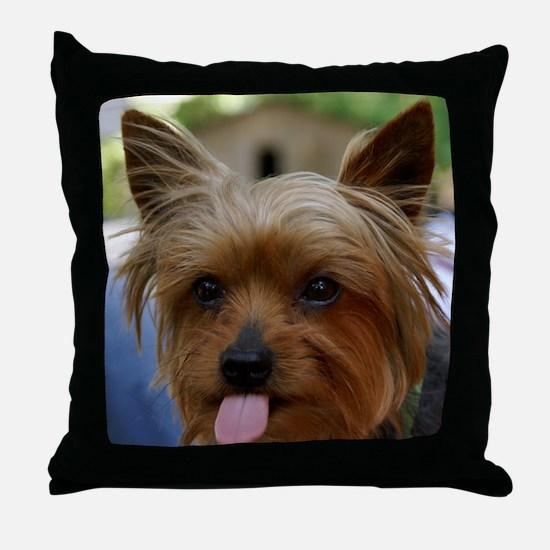 FunnyYorkieShower Throw Pillow