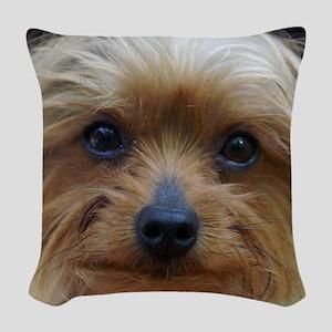 YorkieShowerC Woven Throw Pillow