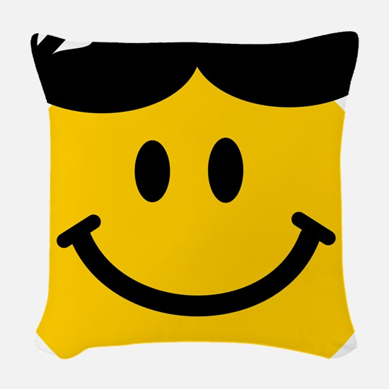 Perched Sunglasses Smiley Woven Throw Pillow