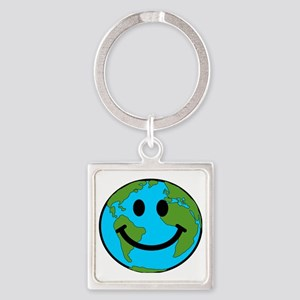 Smiling Earth Smiley Square Keychain
