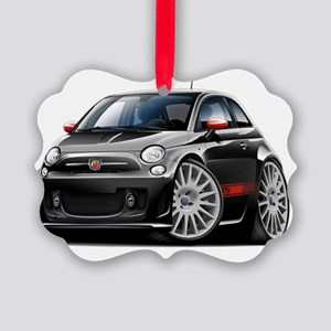 Fiat 500 Abarth Black Car Picture Ornament