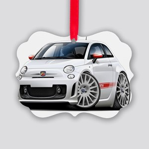 Fiat 500 Abarth White Car Picture Ornament