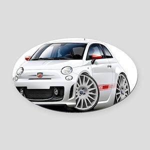 Fiat 500 Abarth White Car Oval Car Magnet