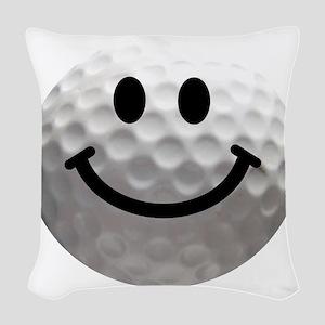Golf ball smiley Woven Throw Pillow