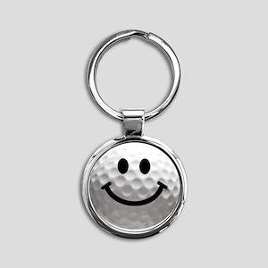 Golf ball smiley Round Keychain