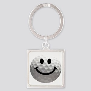 Golf ball smiley Square Keychain