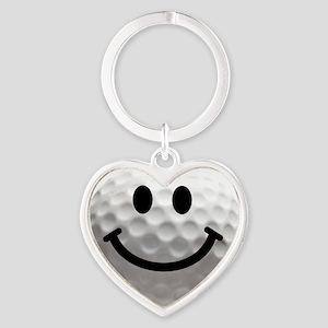 Golf ball smiley Heart Keychain