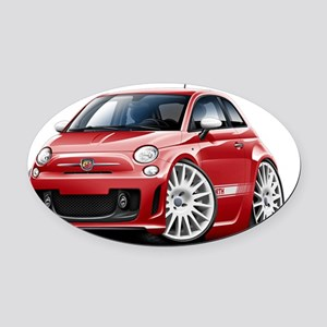 Fiat 500 Abarth Red Car Oval Car Magnet