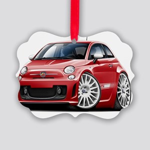 Fiat 500 Abarth Red Car Picture Ornament