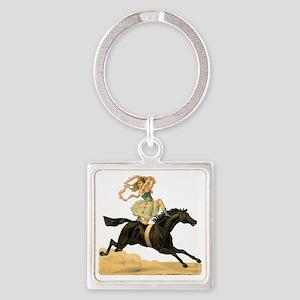 vint-horsegirl2 Square Keychain