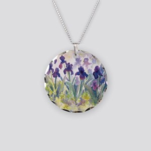 SQ Purp Irises for CP shower Necklace Circle Charm
