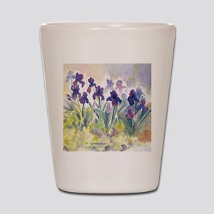 SQ Purp Irises for CP shower curtain Shot Glass