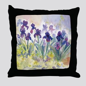 SQ Purp Irises for CP shower curtain Throw Pillow