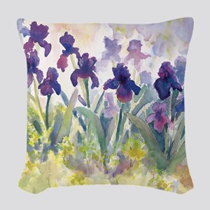 SQ Purp Irises for CP shower c Woven Throw Pillow