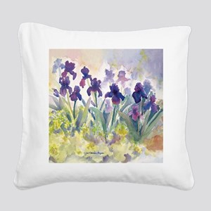SQ Purp Irises for CP shower  Square Canvas Pillow