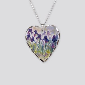 SQ Purp Irises for CP shower  Necklace Heart Charm
