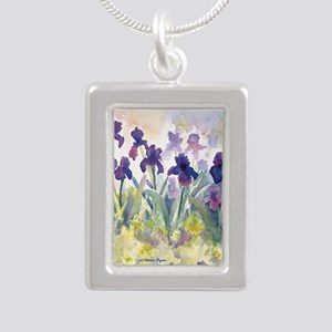 SQ Purp Irises for CP sh Silver Portrait Necklace