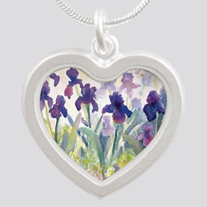 SQ Purp Irises for CP shower Silver Heart Necklace