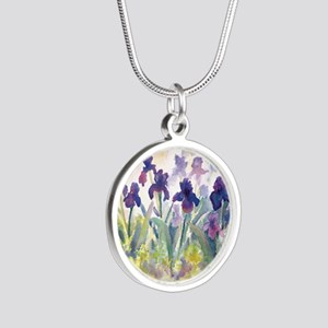 SQ Purp Irises for CP shower Silver Round Necklace