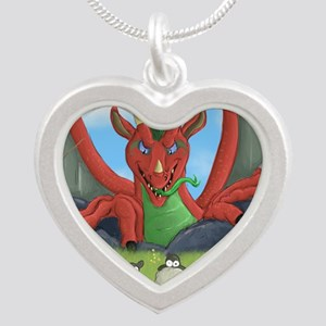 welsh dragon Silver Heart Necklace