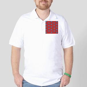 Duvet King Aqua owl pattern red Golf Shirt